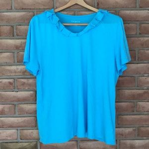 Talbots size XL short sleeved aqua top